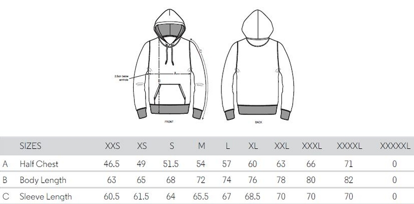 Sizing Chart Hoodies