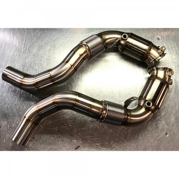 MANHART Downpipes Sport BMW G07 X7 M50i with 300 Cells HJS Catalytic Converters